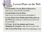 lesson plans on the web