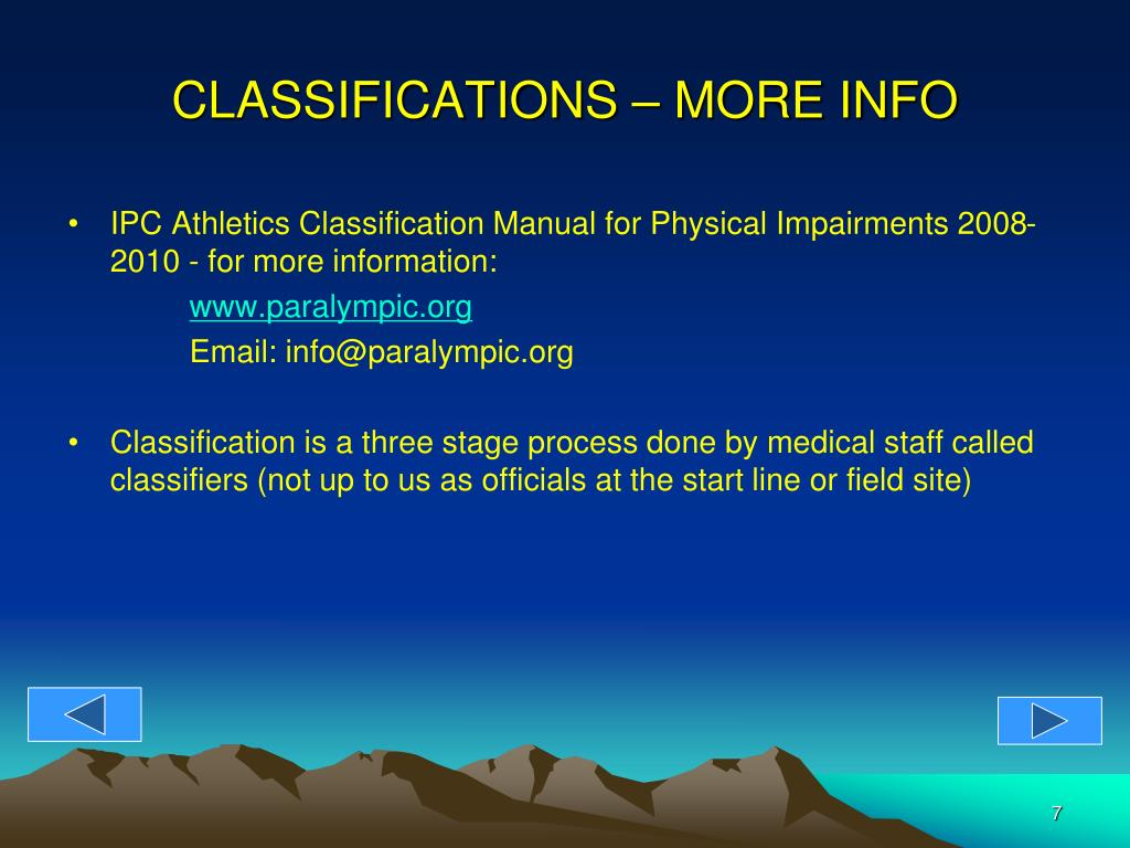 CLASSIFICATIONS – MORE INFO