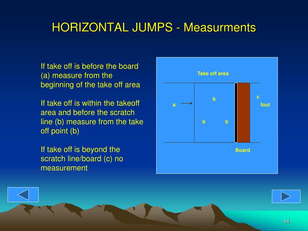 HORIZONTAL JUMPS - Measurments