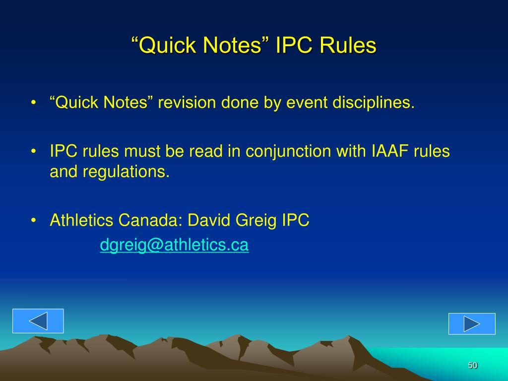 """Quick Notes"" IPC Rules"