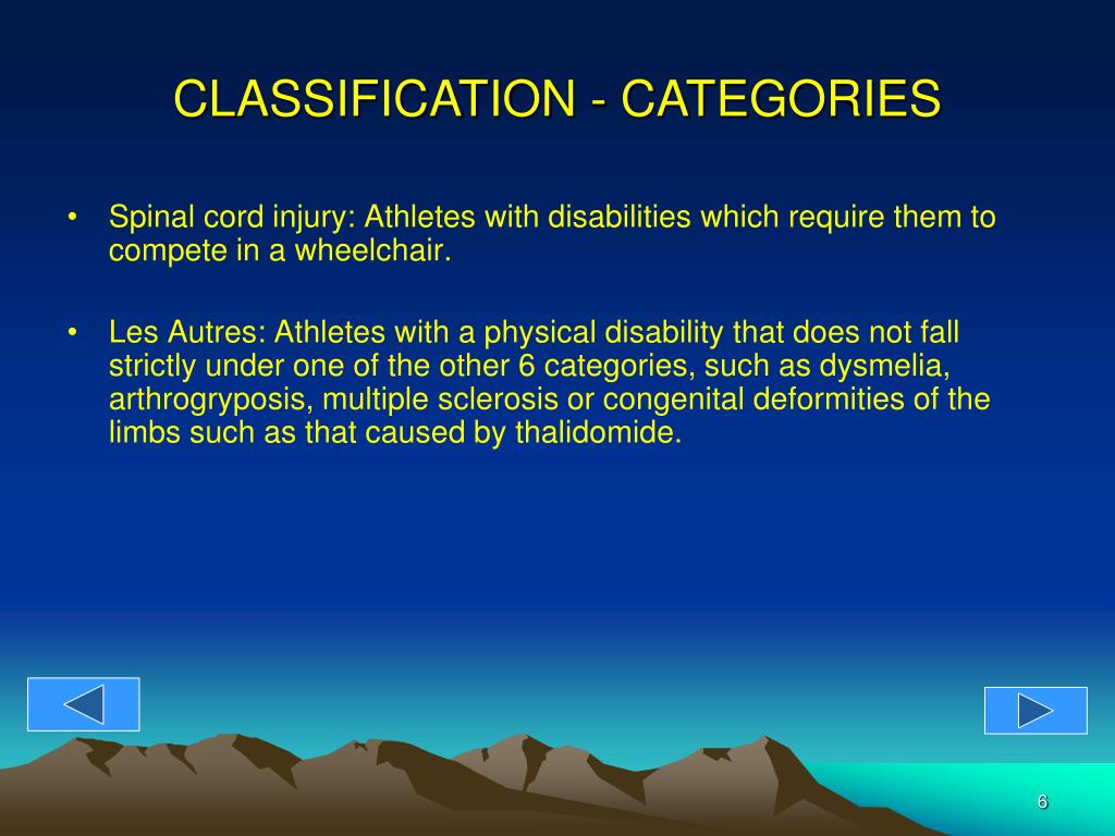 Spinal cord injury: Athletes with disabilities which require them to compete in a wheelchair.