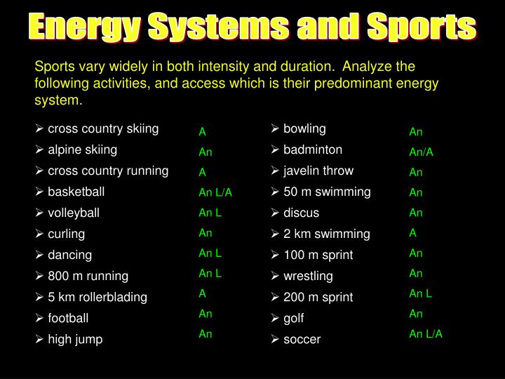 Energy Systems and Sports