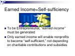 earned income self sufficiency