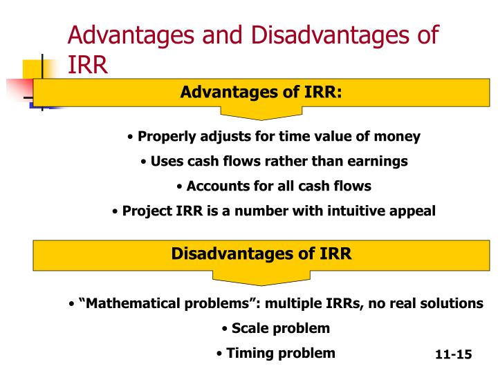advantages and disadvantages of irr finance essay Irr measures the growth of the portfolio in absolute terms to compute internal rate of return, we should use either trial & error method or average so, irr ignore these additional costs irr may suggest to purchase a asset but the benefits derived from that project may be wiped off by the cost of.