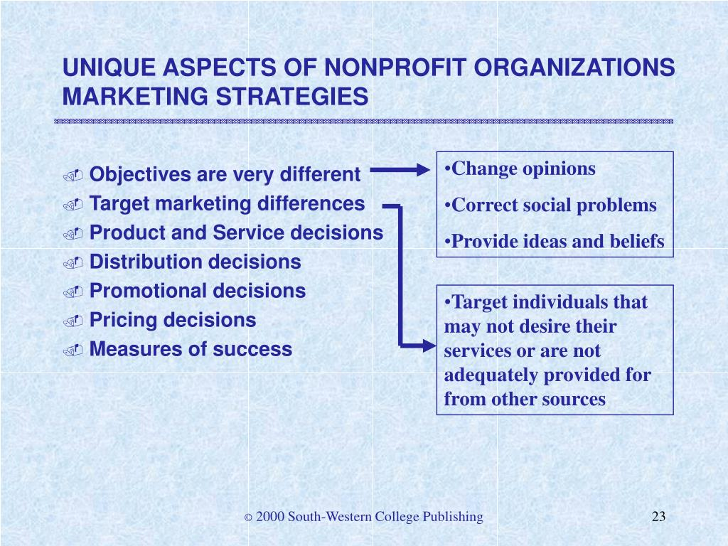 UNIQUE ASPECTS OF NONPROFIT ORGANIZATIONS MARKETING STRATEGIES