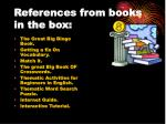 references from books in the box