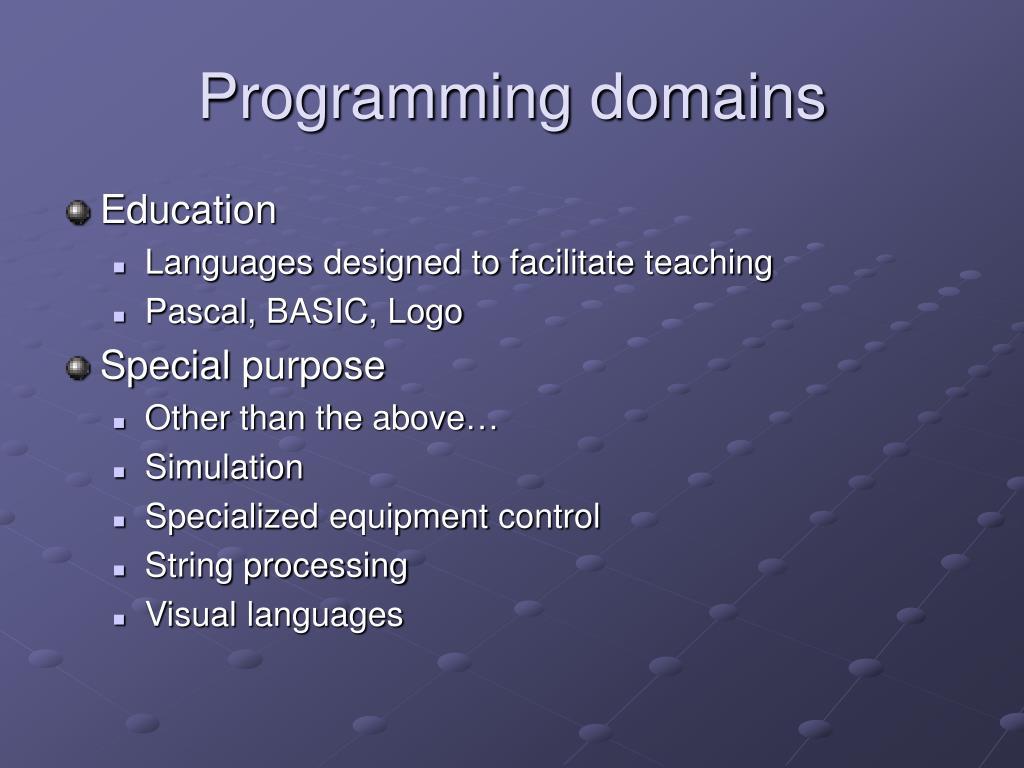 Programming domains
