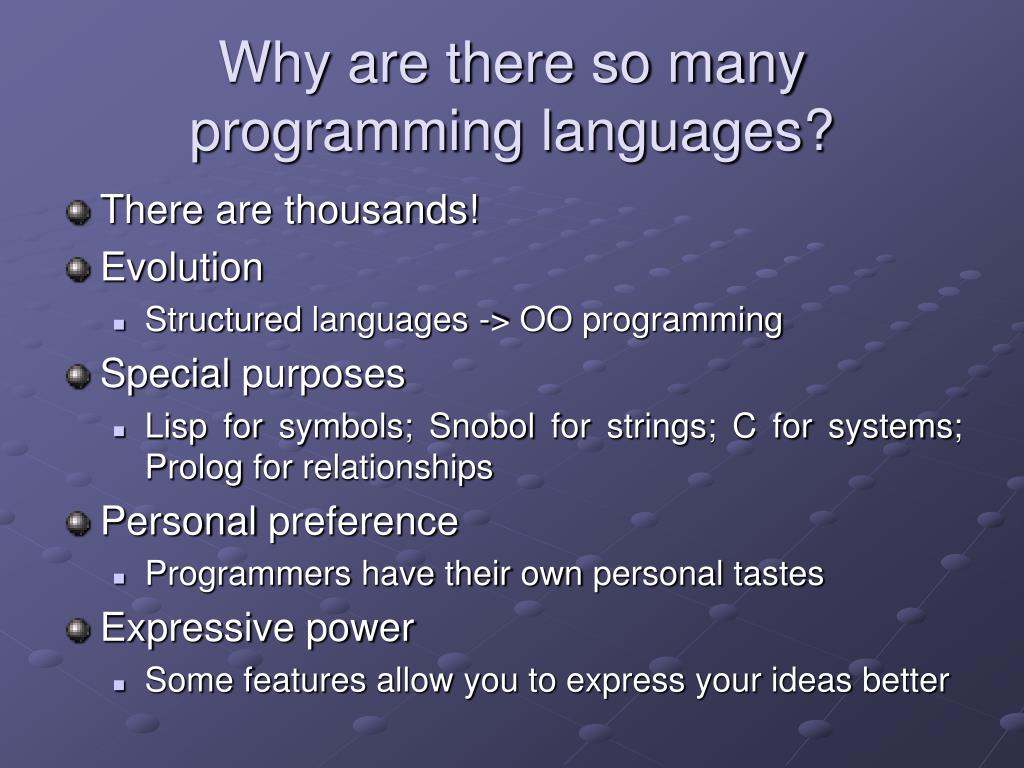 Why are there so many programming languages?