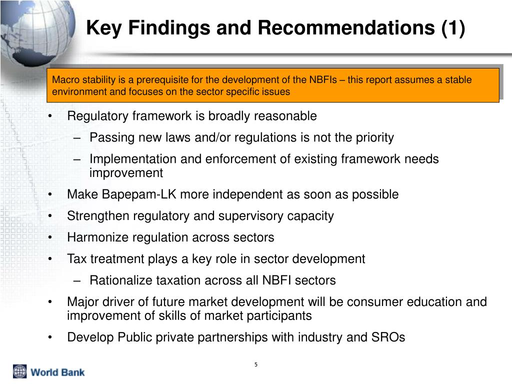 Key Findings and Recommendations (1)