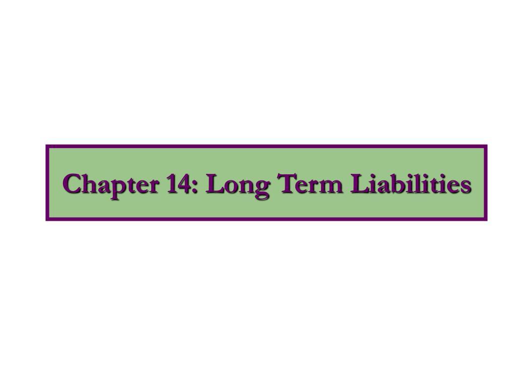 chapter 14 long term liabilities
