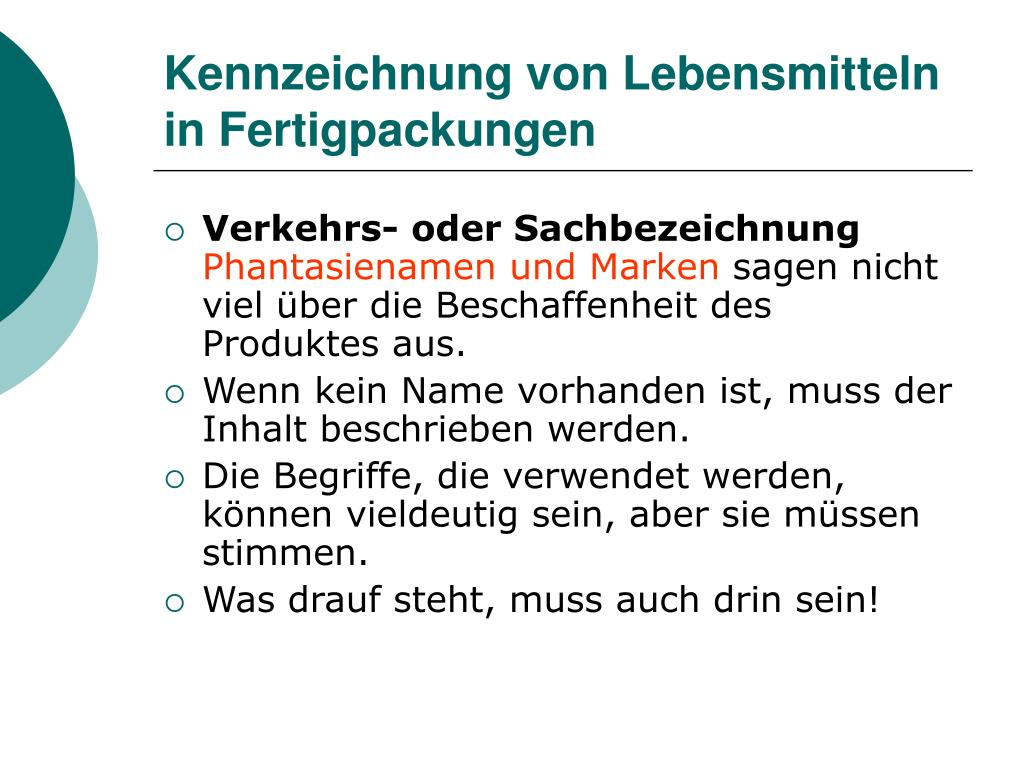Kennzeichnung von Lebensmitteln in Fertigpackungen