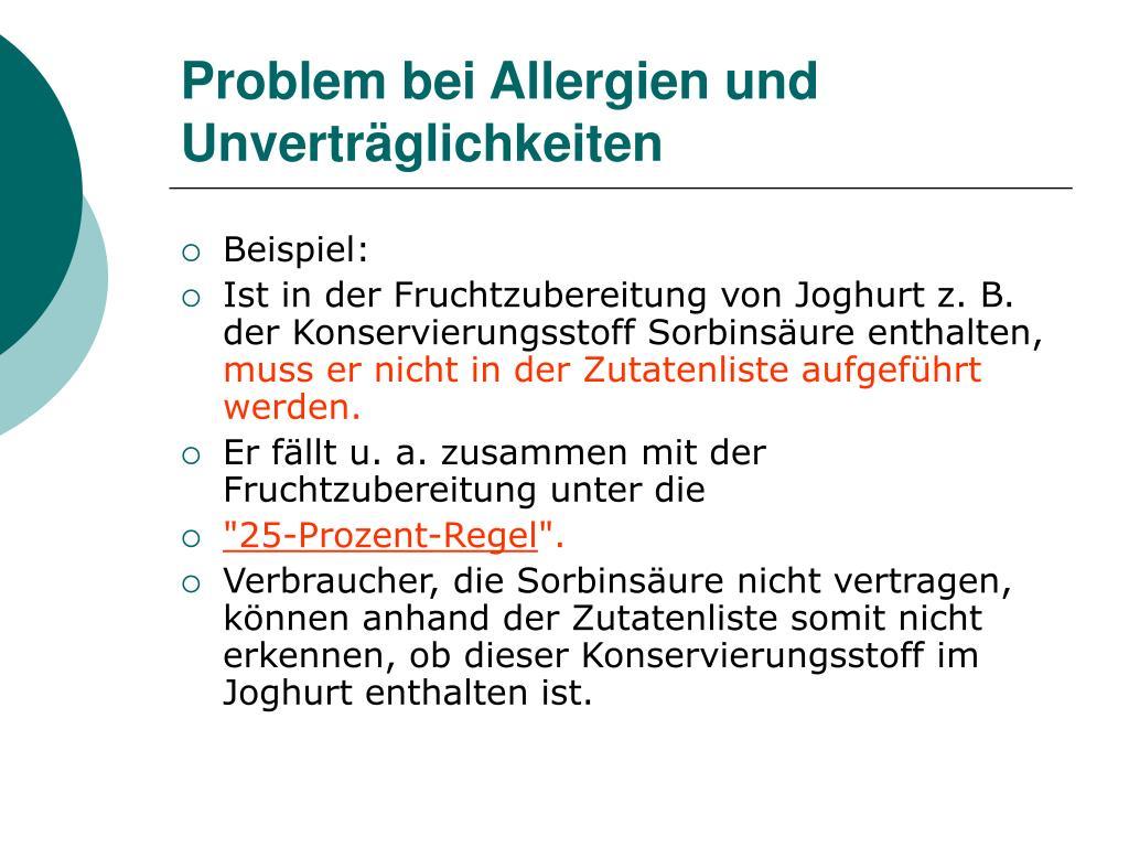 Problem bei Allergien und Unverträglichkeiten