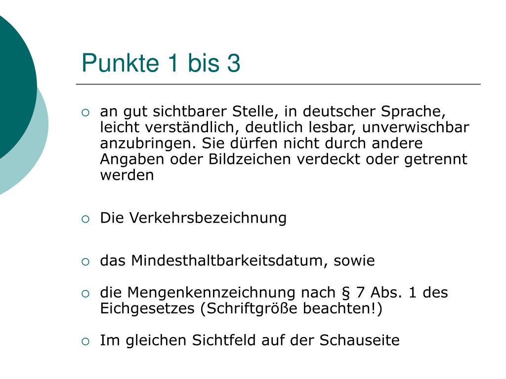 Punkte 1 bis 3