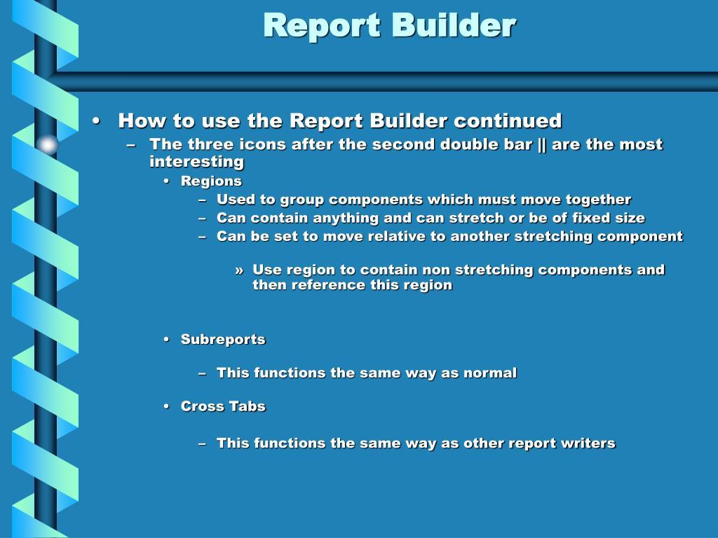 PPT - Report Builder PowerPoint Presentation - ID:474076