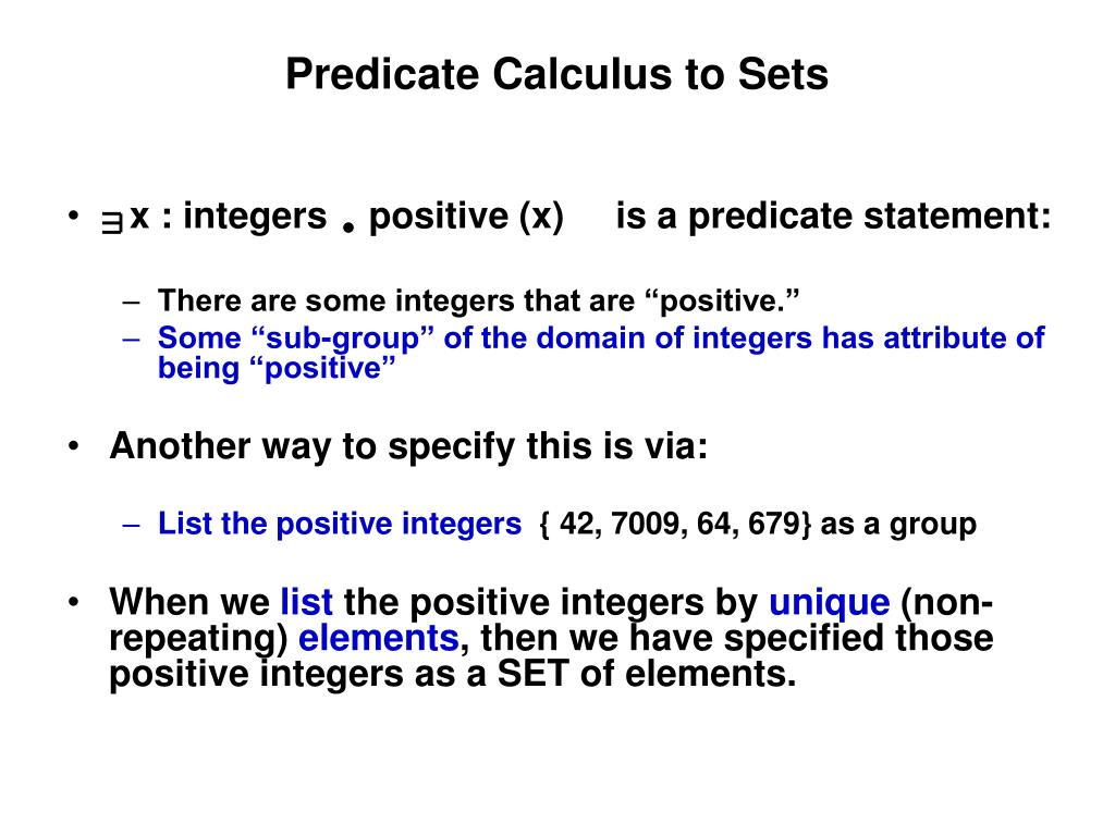 predicate calculus to sets l.