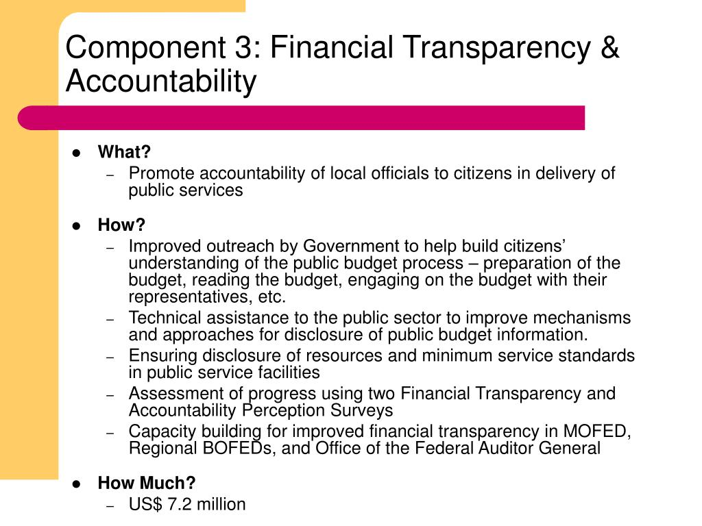 Component 3: Financial Transparency & Accountability
