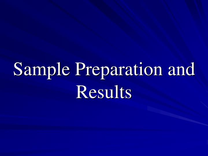 sample preparation and results n.