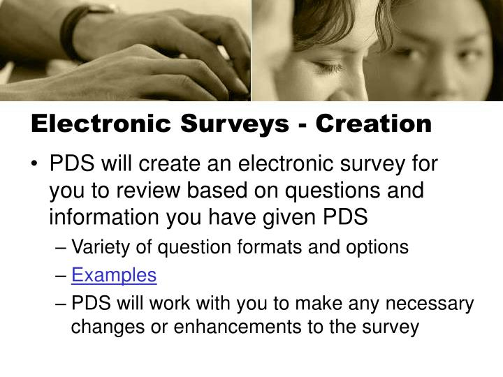 Electronic surveys creation