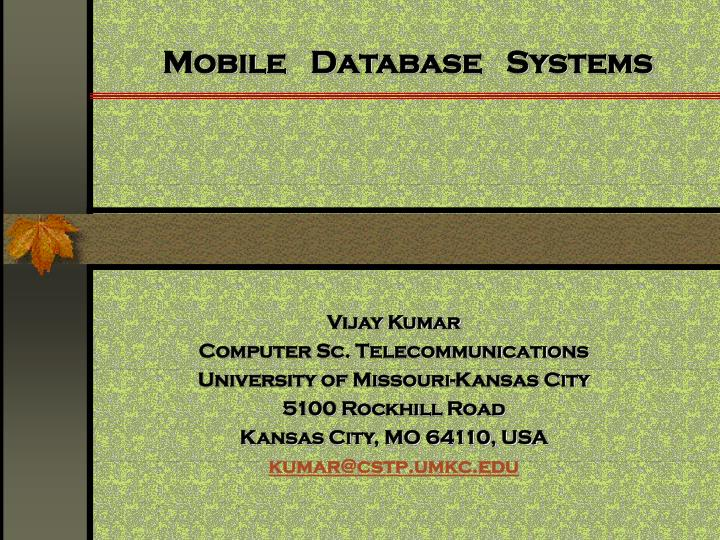 mobile database systems n.