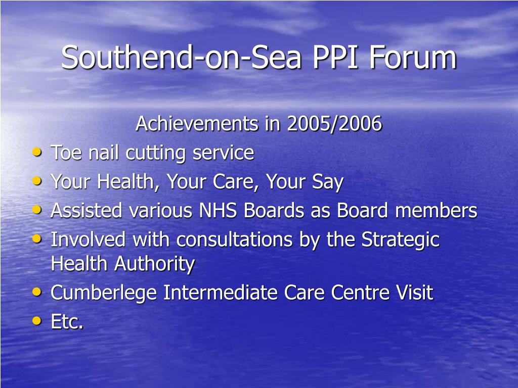 Southend-on-Sea PPI Forum