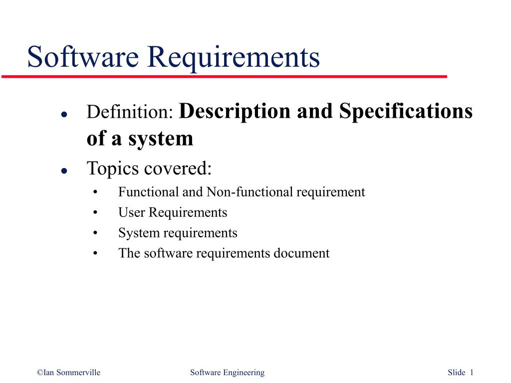 PPT Software Requirements PowerPoint Presentation ID - Software requirements