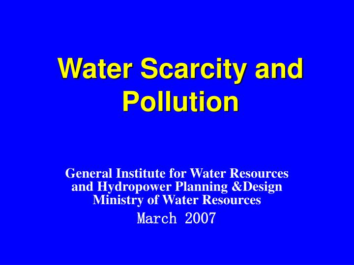 water scarcity and pollution n.