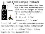free fall example problem