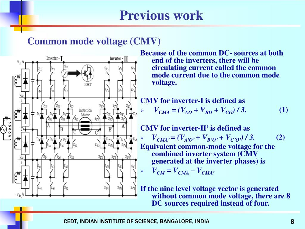 Because of the common DC- sources at both end of the inverters, there will be circulating current called the common mode current due to the common mode voltage.