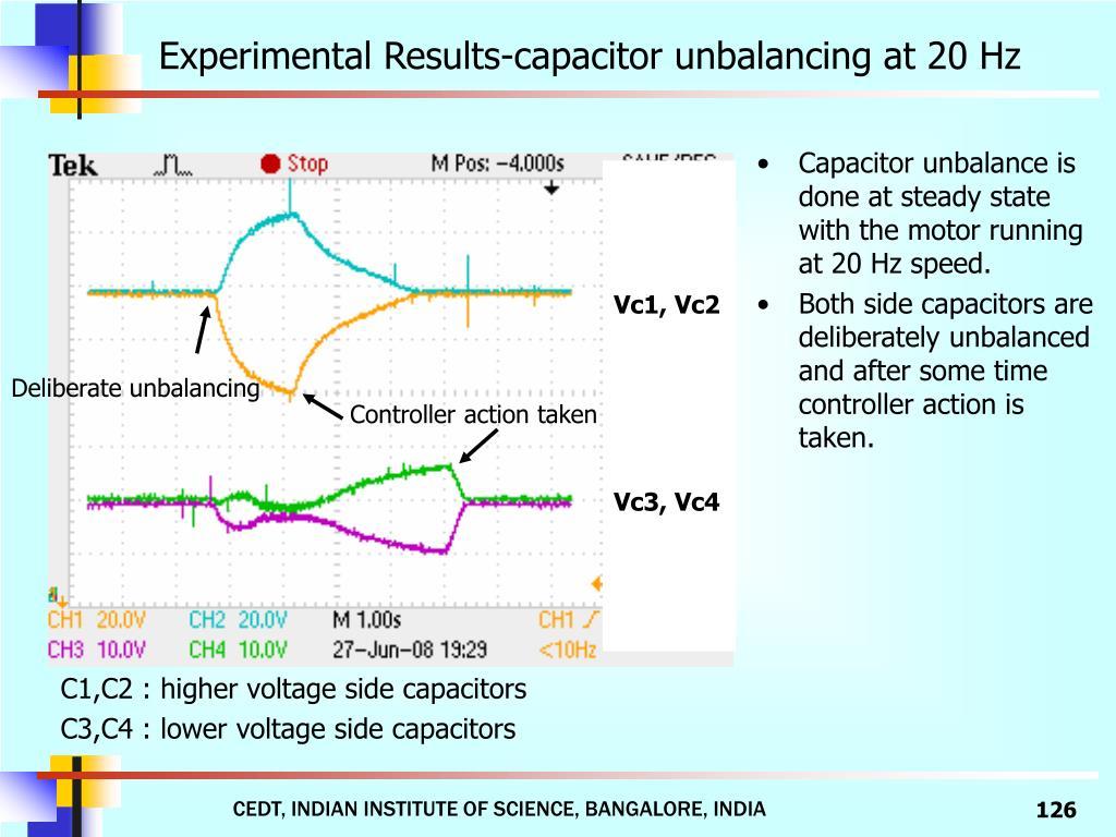 Experimental Results-capacitor unbalancing at 20 Hz