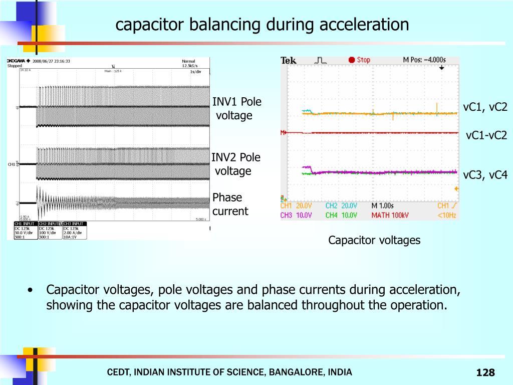 capacitor balancing during acceleration