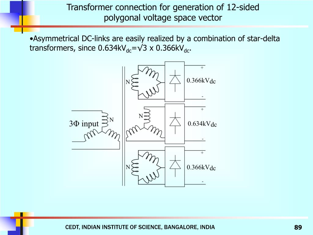 Transformer connection for generation of 12-sided polygonal voltage space vector