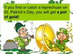 if you find or catch a leprechuan on st patrick s day you will get a pot of gold