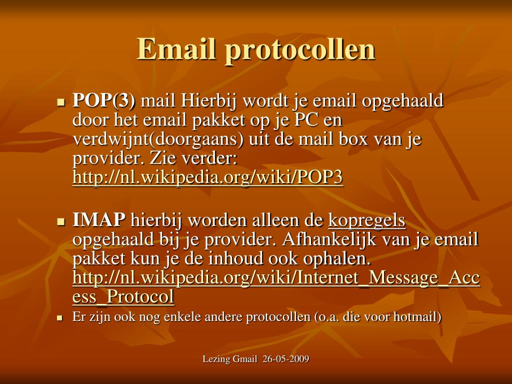 Email protocollen