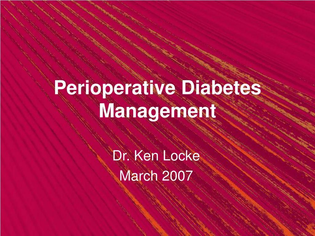 perioperative diabetes management l.