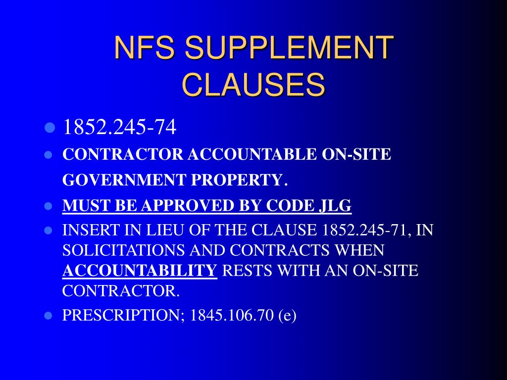 NFS SUPPLEMENT CLAUSES