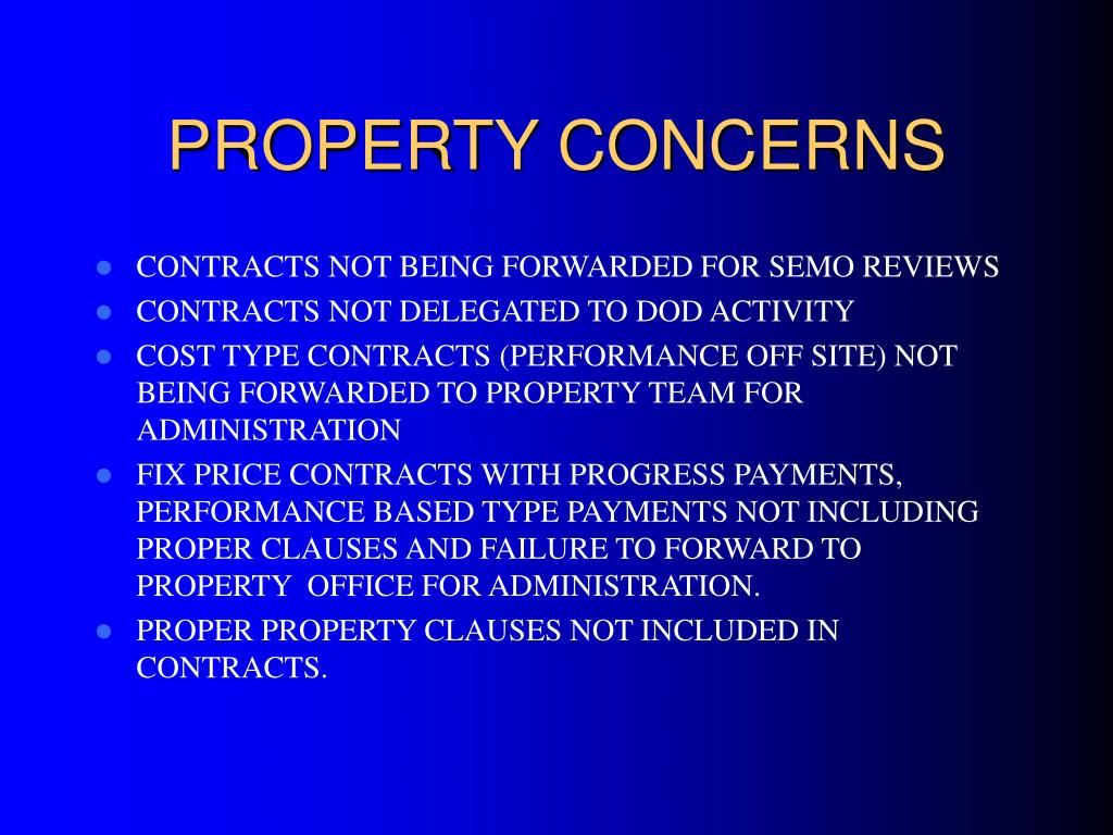 PROPERTY CONCERNS
