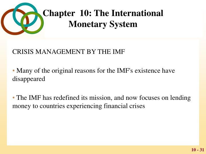 explain briefly the operation of the present international monetary system The international monetary system set in place at bretton woods differed from the gold exchange standard, however, in that, as joseph gold noted, it was in practice 'a solar system in which the us dollar was the sun' (dam, 1982, p 95) the usa committed to exchange dollars for gold at the rate of $35 an ounce and other currencies were to.
