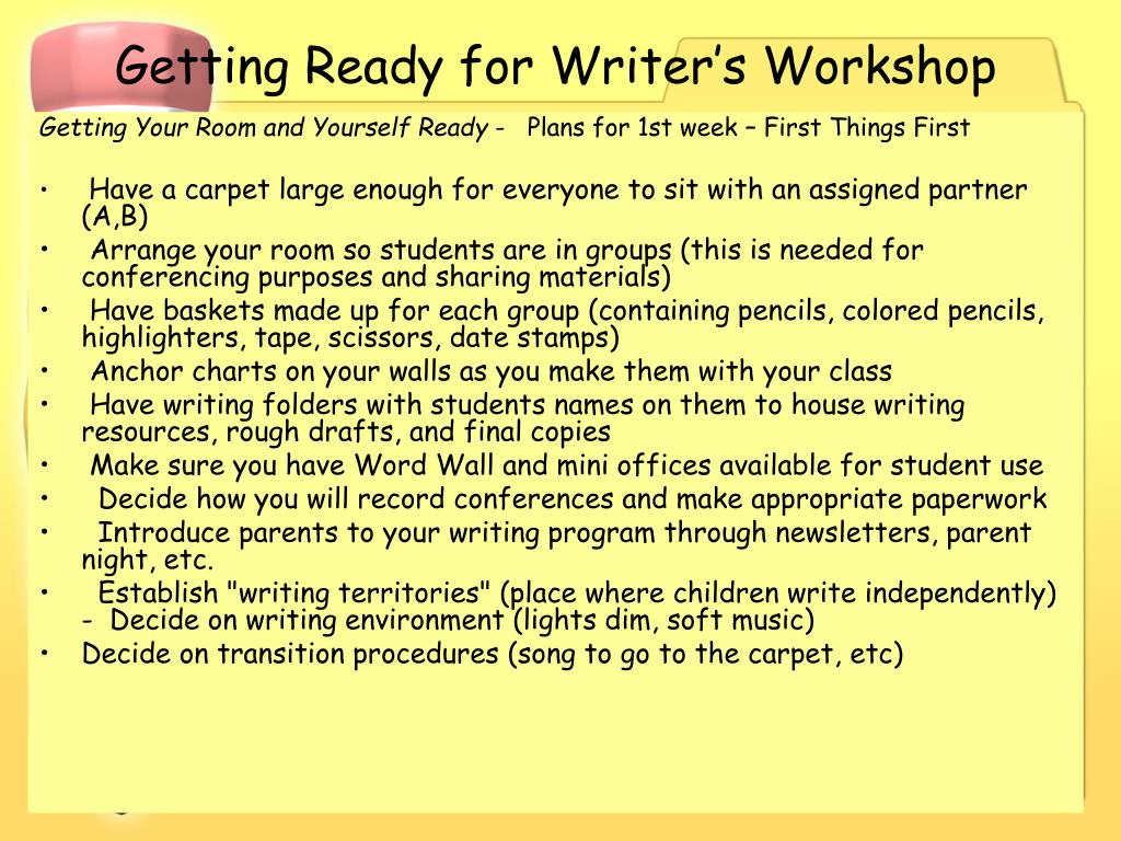 Getting Ready for Writer's Workshop