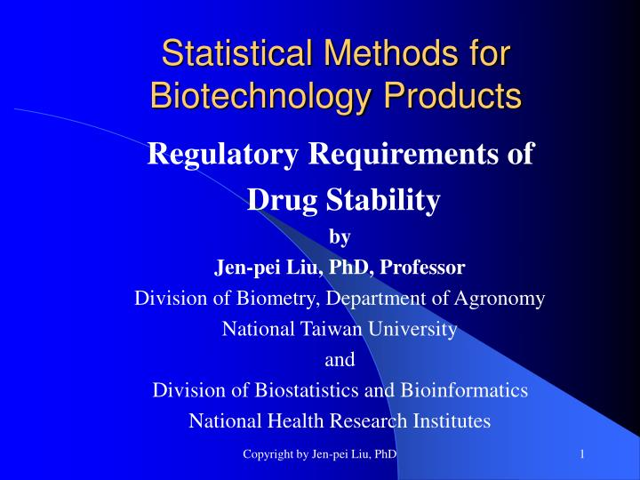 statistical methods for biotechnology products n.