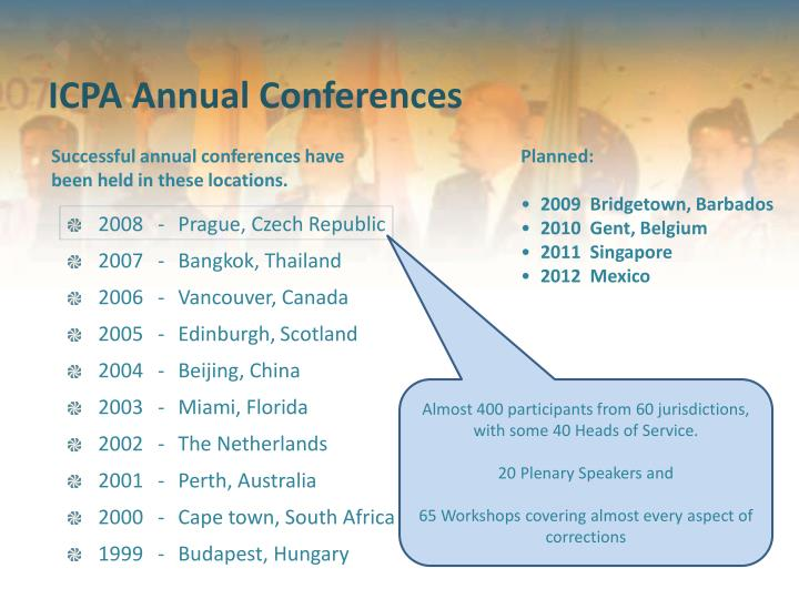 Successful annual conferences have been held in these locations.