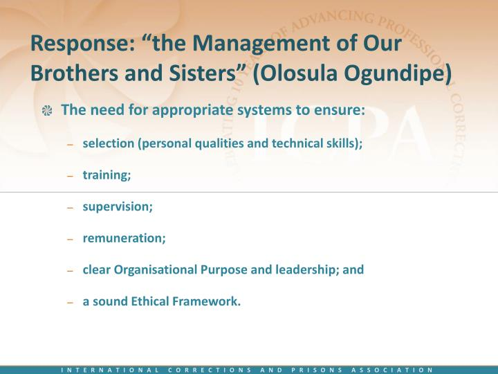 "Response: ""the Management of Our Brothers and Sisters"" (Olosula Ogundipe)"