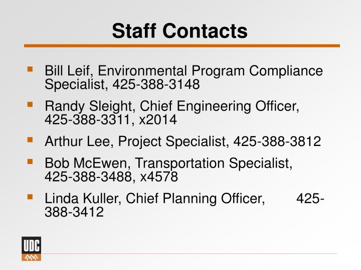 Staff Contacts