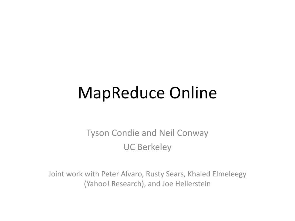 mapreduce online l.