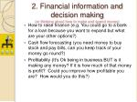 2 financial information and decision making or thinking about how to make and spend money