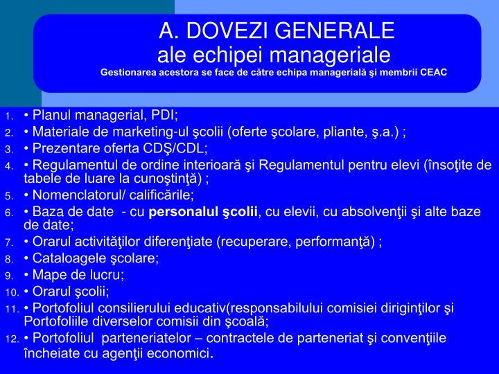 A. DOVEZI GENERALE