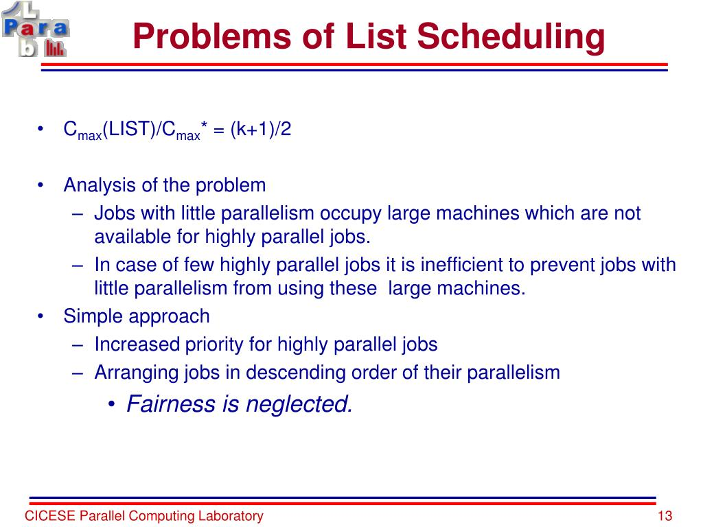 Problems of List Scheduling