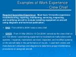 examples of work experience crew chief