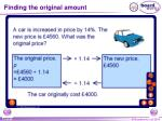 finding the original amount1
