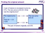 finding the original amount2