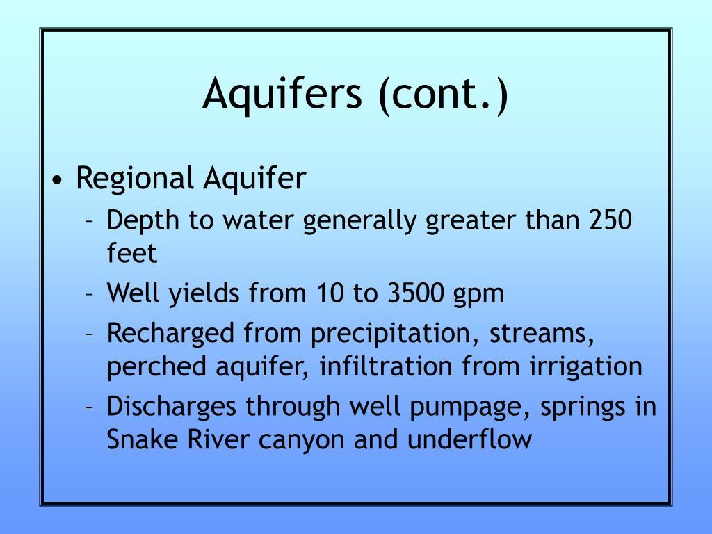 Aquifers (cont.)